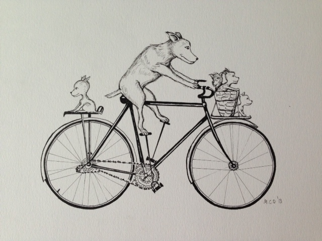 Dogs on a bicycle