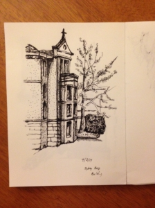Suffering for my art, sketch made in a draughty colonnade